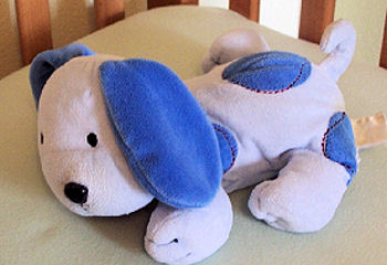 Carter's Just One Year Pale Blue Dog with Blue Spots with Red Stitching