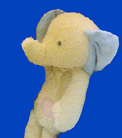 , FOUND – CARTER'S Fluffy Friends YELLOW ELEPHANT with BLUE EARS