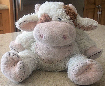 White & Pink Chenille Cow with Brown Eye Patch, Spots, Stitching