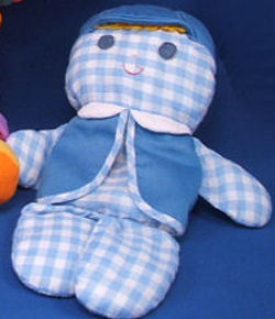 , FOUND – 70's Fisher Price BLUE GINGHAM BOY DOLL with YELLOW HAIR