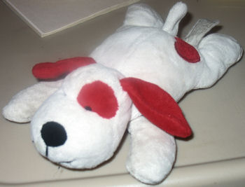 Chosun Small White Beanie Dog with Red Ears, Eye Patch & Heart on Tush