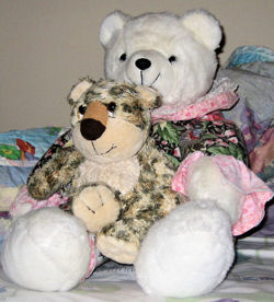 Circus Circus White Bear with a Print Body & Pink & Lace Cuffs AND this Aurora People Pals Leopard