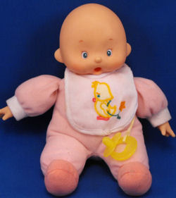 2000 Cititoy Vinyl Head Open Mouth Doll With Pacifier Wearing Pink