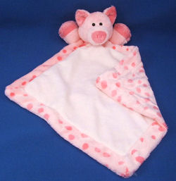 Soft Classics Pink Pig Blankie with Dark Pink Minki Dots