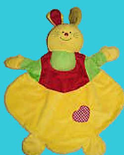 Colorful Yellow Red & Green Rabbit Blankie