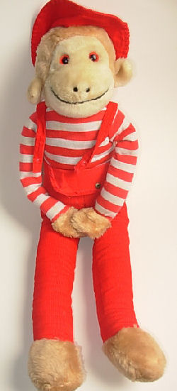 commonwealth curious george, Searching – 80's Commonwealth LARGE CURIOUS GEORGE MONKEY Wearing RED STRIPED SHIRT, OVERALLS, HAT