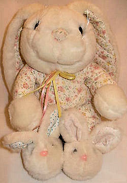 80's Commonwealth Pink Quilted Bunny Rabbit Wearing Quilted PJ's & Slippers