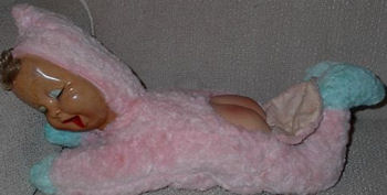 Crawling Baby Doll Wearing Pink Bunting with Rubber Face & Tush