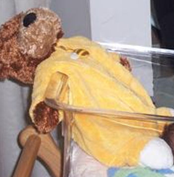 , FOUND – 2007 CUDDLE ZONE Brown BEAR Wearing a YELLOW SLEEPER with BEE ZIPPER PULL