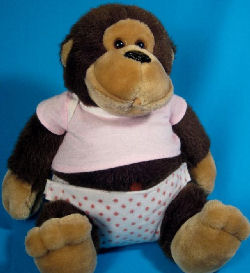 1985 Small DAKIN Girl Monkey with Diaper Shirt, Diaper & Pacifier