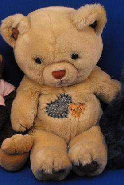DAKIN 1985 Large Tan Bear with Calico Ears, Paws, Heart TATTERED TEDDY