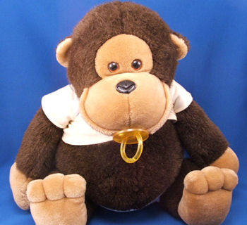 80′s DAKIN XL BABY MONKEY with PACIFIER Wearing DIAPER & DIAPER SHIRT