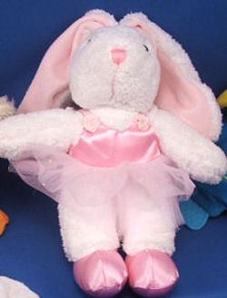 DanDee Collector's Choice White Ballerina Rabbit Wearing a Pink Tutu & Ballet Slippers