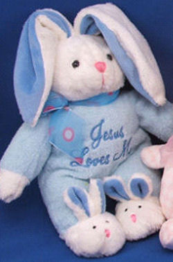 DanDee Jesus Loves Me Singing White Rabbit Wearing Blue and Bunny Slippers