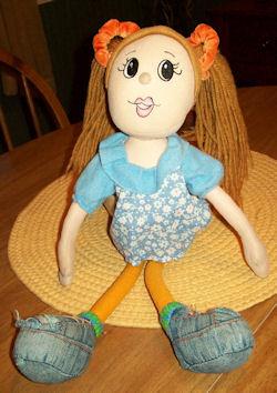 DanDee? Kool Kids? Brunette Cloth Doll with Denim Shoes