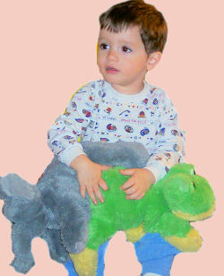 DanDee plush gray elephant and green and yellow frog