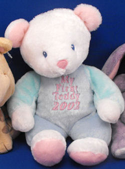 DanDee Collector's Choice My First Teddy 2002 White Bear Wearing Blue & Green Sleeper
