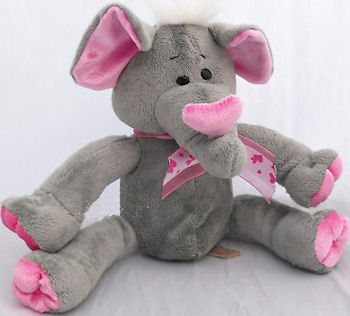 , Searching – 2008? DanDee Collector's Choice SMALL Seated GRAY & PINK ELEPHANT with RED HEART I Love You