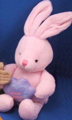 DanDee Collector's Choice Rose Pink Rabbit Holding Lavender Jesus Loves Me Star Flower