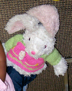 DanDee Collector's Choice Large White Rabbit Wearing a Pink & Green Sweater