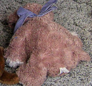 Animal Alley? DanDee? Floppy Tan Lying Down Dog with Big Black Nose, Tiny Eyes & White Feet