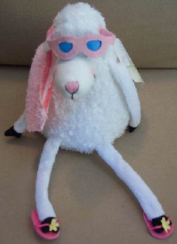 , FOUND – Hallmark Dayspring SMALL SUMMER SHEEP Wearing SUNGLASSES, STRIPE TOWEL, SANDALS