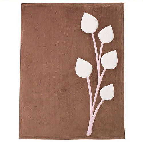 Dwell Studio for Target Olivia Brown Baby Blanket with Pink Tulips