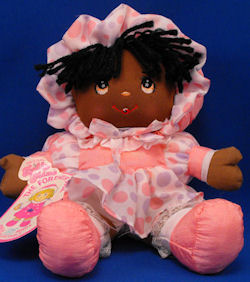 Well Made Toy Puffalump Dolly Mine Doll Wearing Pink & Gray Dress