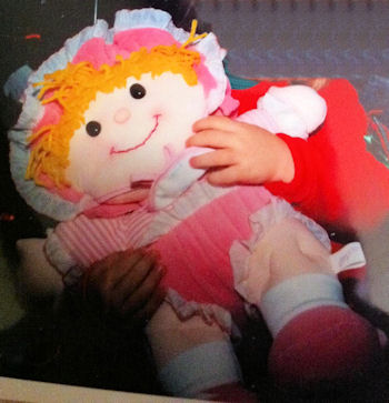 Dolly Mine? Extra Large Blond Puffalump Doll in Pink Outfit