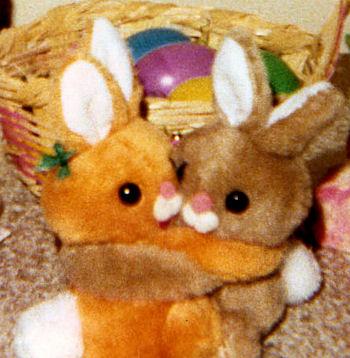 , Searching – 70's Easter Pets Pair HUGGING RABBITS – 1 ORANGE 1 BROWN