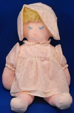 Eden Vintage Blond Doll Rosebud Print Dress Bonnet