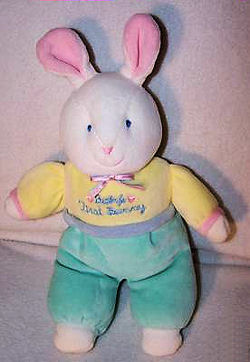Eden Baby's First Bunny White Rabbit with Upright Ears wearing Yellow Shirt and Aqua Pants