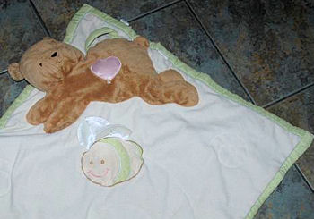 Large Eden Green Trimmed Beige Heartbeat Baby Blankie with a Bear and Bee