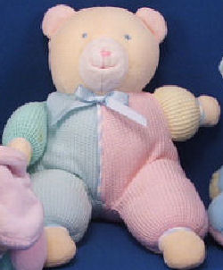 , FOUND – Eden BEIGE BEAR with PINK & BLUE HALVES THERMAL SLEEPER