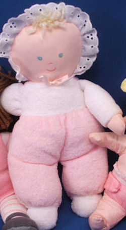 Eden Blond Doll with Pink & White Terry Sleeper & Matching Eyelet Trimmed Bonnet