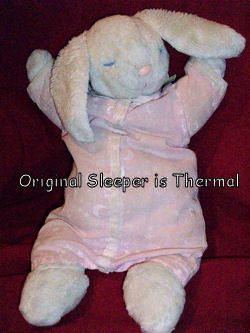 90's Eden White Sleeping Rabbit with Pink Thermal Knit Body and a Plastic Nose