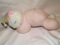 90's Eden White Sleeping Bear with Pink Thermal Knit Body and a Plastic Nose