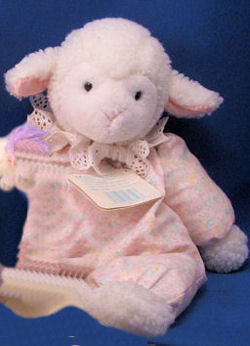 Eden White Lamb in a Pink Print Sleeper with Eyelet Collar