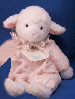Eden Floppy White Lamb wearing a Print Sleeper with Eyelet Collar