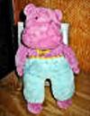 90′s EDEN PURPLE HIPPO Teal Pants Pink & Yellow Polka Dot TIE
