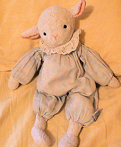 90's Eden White Woolly Lamb Wearing a Flower Print Sleeper with Eyelet Ruffle Collar