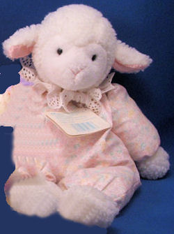 Eden White Floppy Lamb with Pink Print Body & Ruffled Collar