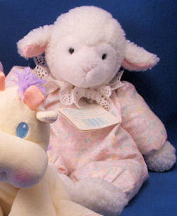 Eden WHITE FLOPPY LAMB Wearing FLOWER PRINT SLEEPER