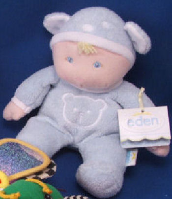 Eden Blond Nuzzy Boy Doll Wearing Blue Bear Sleeper & Cap