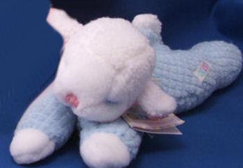 Eden White Sleeping Lamb Wearing a Blue Waffle Sleeper