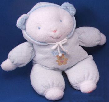 Eden White Bear Blue Hood Brown Baby Bear Patch