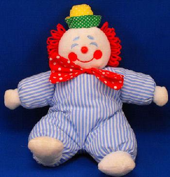 Eden White Red Hair Clown Wearing Blue Stripe Suit