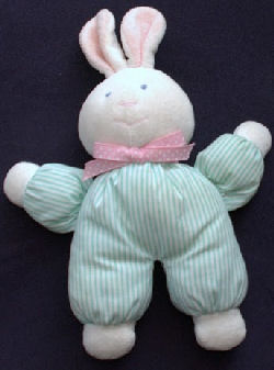 Eden White Rabbit Wearing Aqua & White Stripe Sleeper
