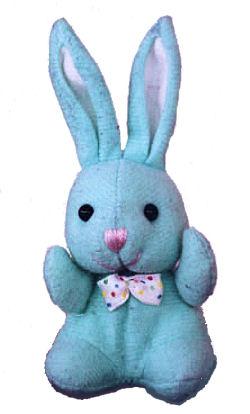 blue felt seated bunny rabbit long upright ears