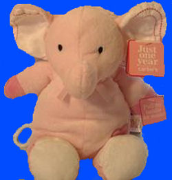 , DISCONTINUED – Carter's Just One Year PINK Crib Pull ELEPHANT with STITCHING in EARS – PLAYS BRAHMS